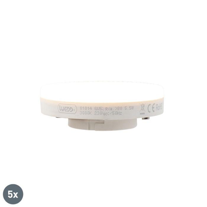Sæt-med-5-GX53-LED-lampe-5,5-W-470-lumen-3000K