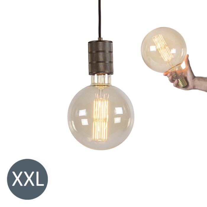 Hængelampe-bronze-Megaglobe-med-dæmpbar-LED-lampe