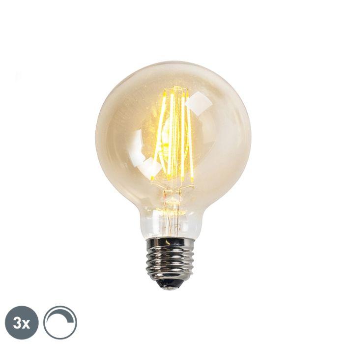 Sæt-med-3-E27-dæmpbare-LED-glødelamper-goldline-G95-5W-450LM-2200K