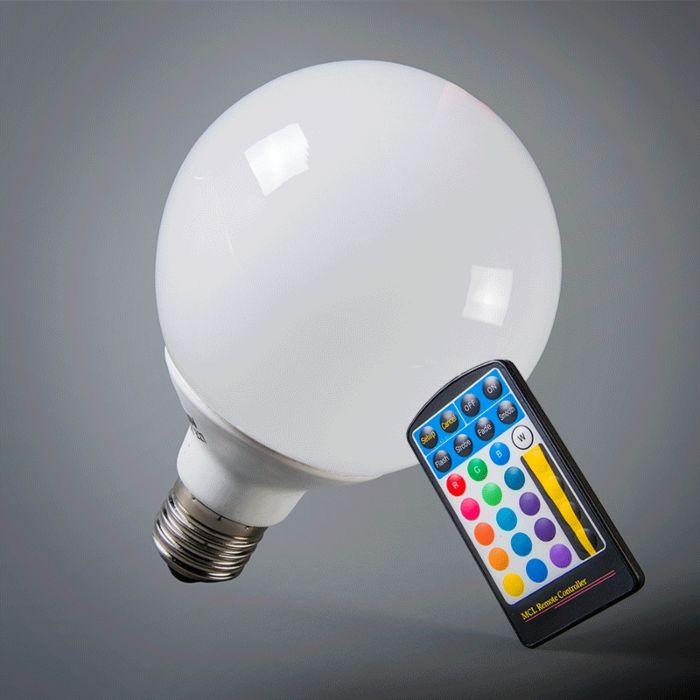 LED-globe-E27-RGB-95mm-med-fjernbetjening