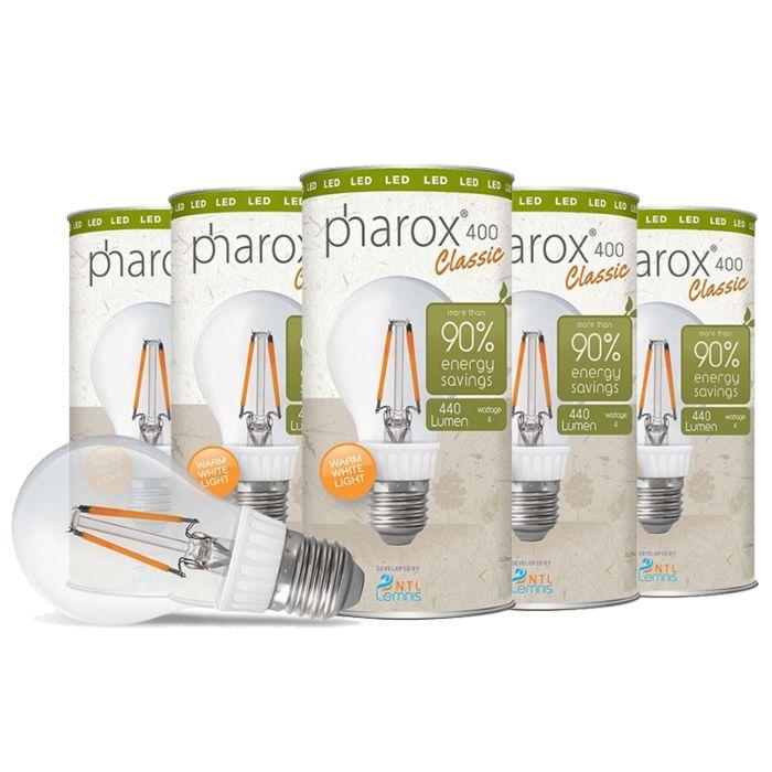Pharox-LED-lampe-400-Classic-E27-4W-sæt-med-5