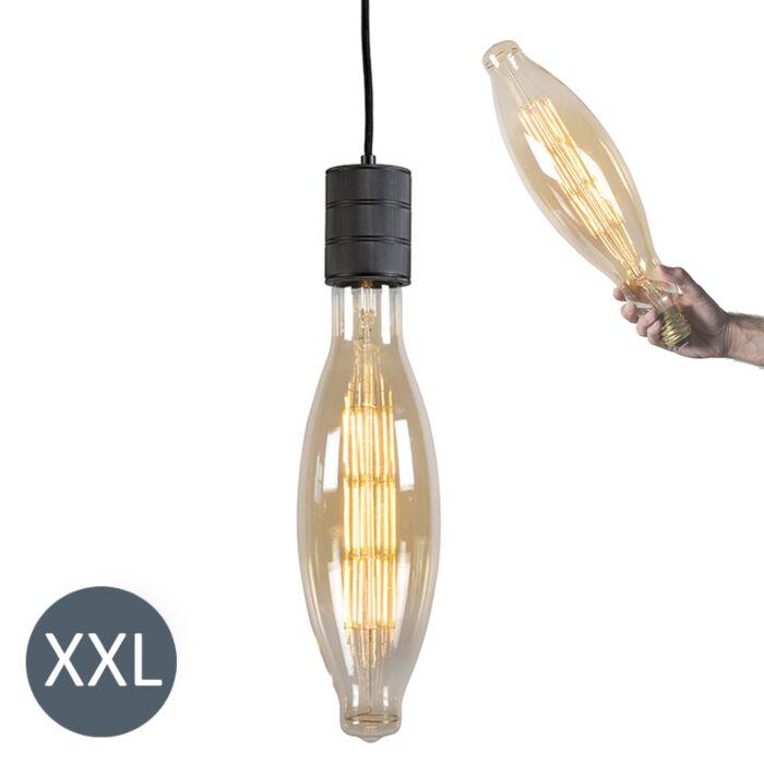 Hængende-lampe-Elips-sort-med-dæmpbar-LED-lampe
