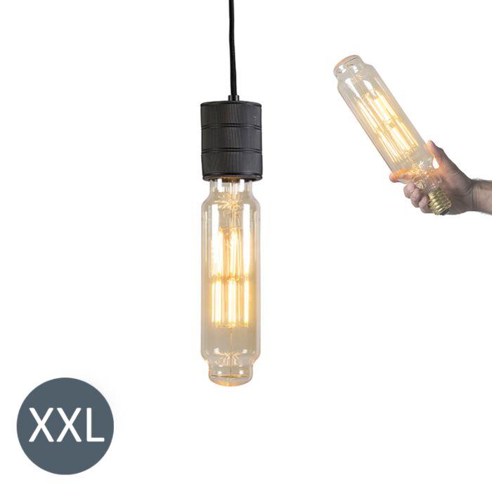 Hængelampe-Tower-sort-med-dæmpbar-LED-lampe