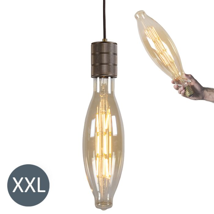 Hængende-lampe-Elips-bronze-med-dæmpbar-LED-lampe