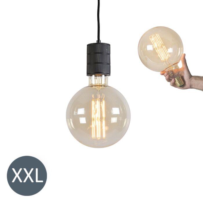 Hængelampe-Megaglobe-sort-med-dæmpbar-LED-lampe