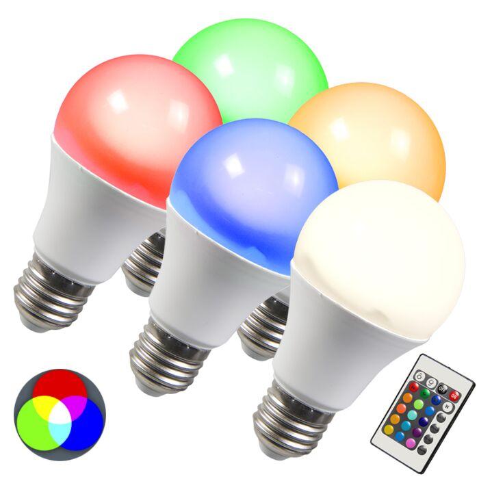 LED-pære-RGB-E27-3W-sæt-med-5
