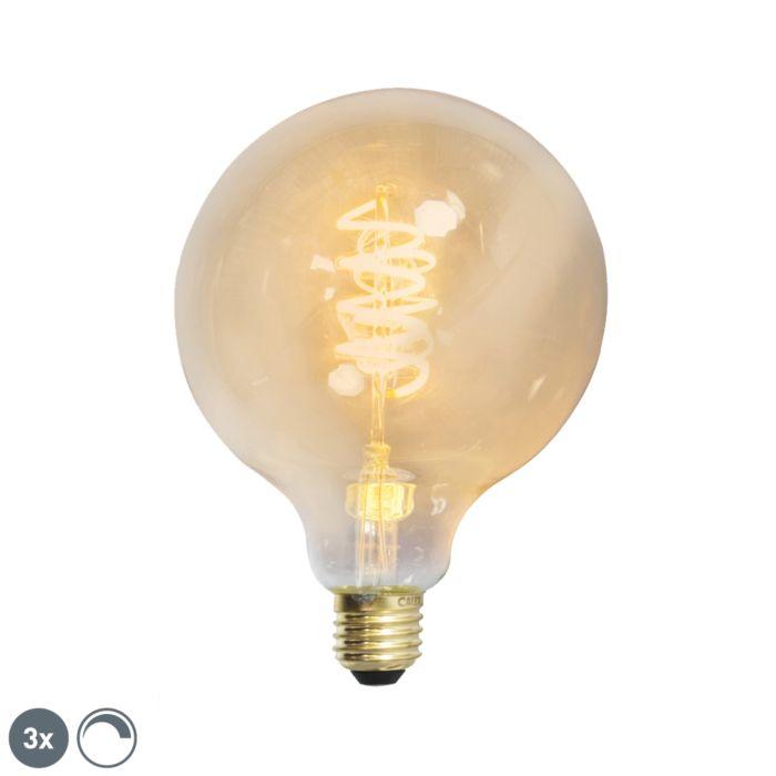 Sæt-med-3-E27-dæmpbar-LED-snoet-filament-G125-guldlinje