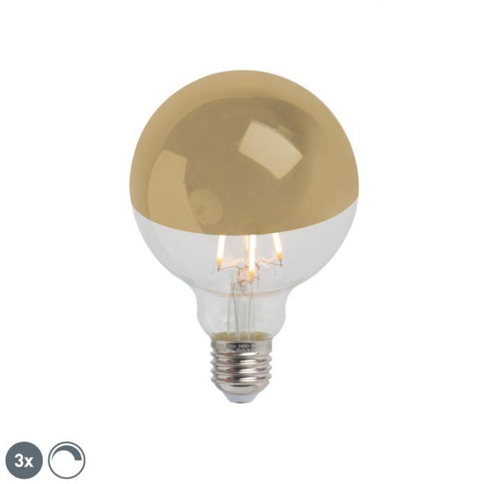 Sæt-med-3-E27-dæmpbar-LED-halvspejl-G95-guld-280lm-2300K