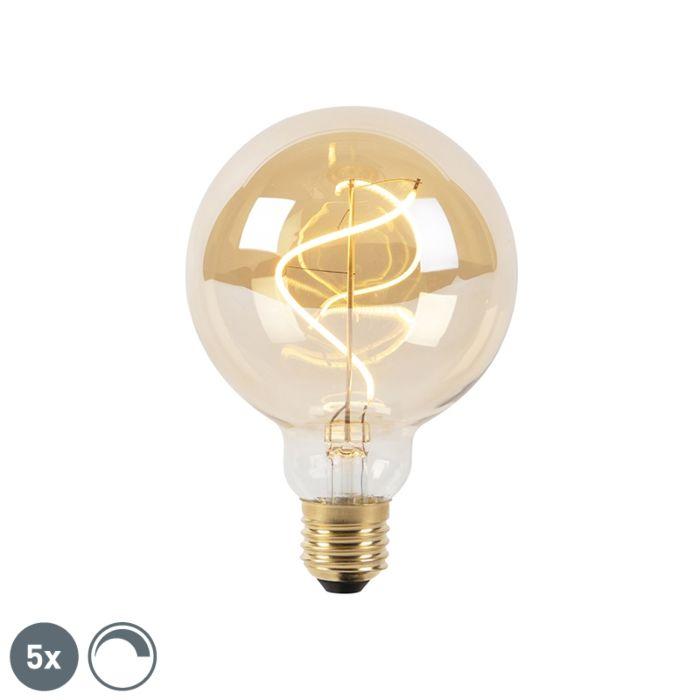 Sæt-med-5-E27-dæmpbare-LED-spiralglødelamper-G95-goldline