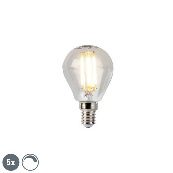 Sæt-med-5-E14-dæmpbare-LED-glødekuglelamper-5W-470lm-2700K