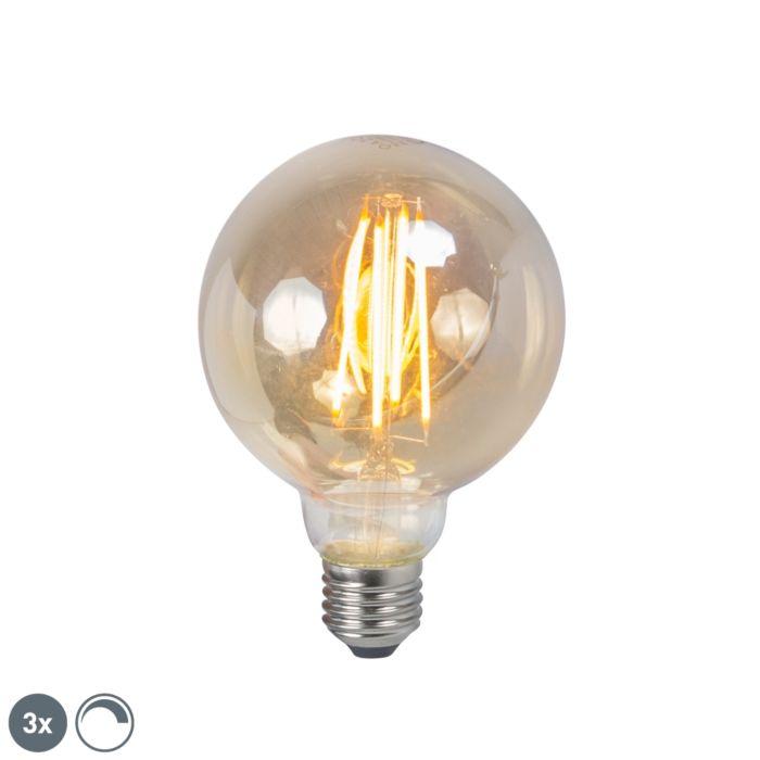 Sæt-med-3-LED-glødelamper-E27-5W-2200K-G95-dæmpbar-røg