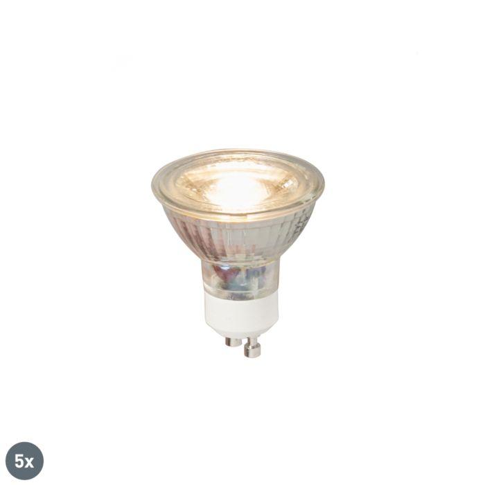 Sæt-med-5-GU10-LED-lampe-COB-5W-380LM-3000K