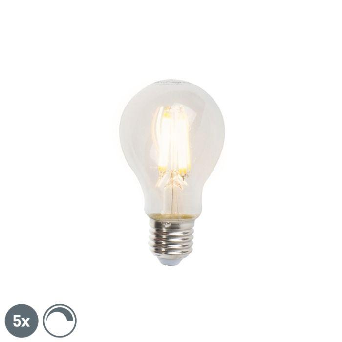Sæt-med-5-E27-dæmpbare-LED-glødelamper-A60-7W-806lm-2700K