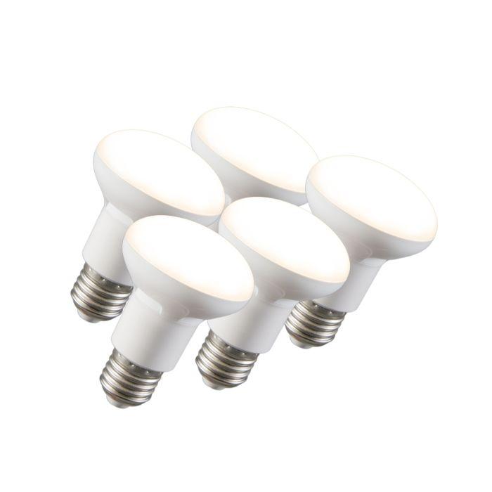 Sæt-med-5-LED-reflektorlampe-R63-E27-240V-8W-2700K-dæmpbar
