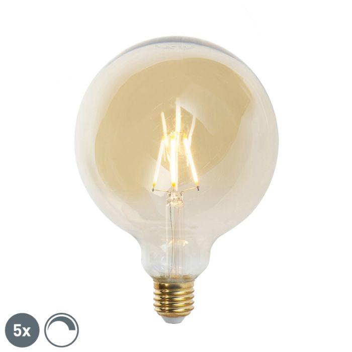 Sæt-med-5-E27-dæmpbare-LED-glødelamper-G125-goldline-2200K