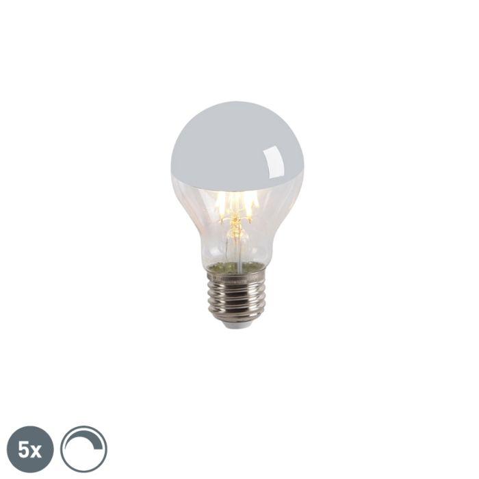 Sæt-med-5-LED-glødelampe-hoved-spejl-E27-240V-4W-300lm-A60-dæmpbar