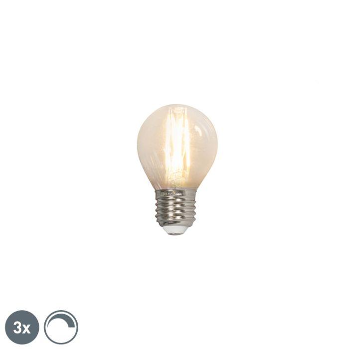 Sæt-med-3-LED-kuglelamper-E27-240V-3,5W-350lm-P45-kan-dæmpes
