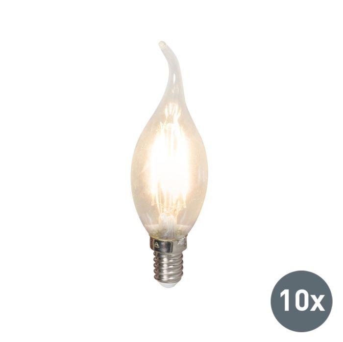 Sæt-med-10-LED-glødelampe-E14-240V-3,5W-350lm-BXS35-dæmpbar