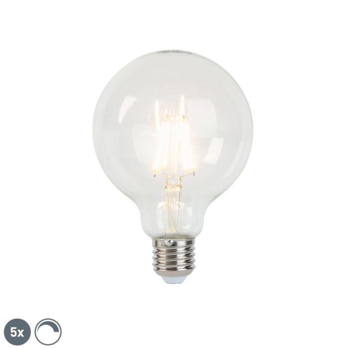 Sæt-med-5-LED-glødelamper-E27-5W-450lm-G95-dæmpbar-klar