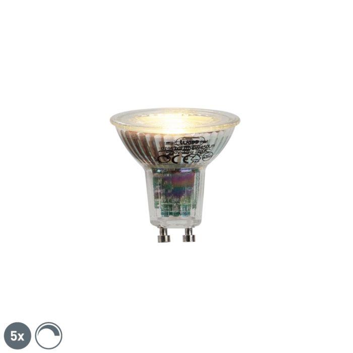 Sæt-med-5-GU10-LED-lampe-6W-450lumen-2700K-dæmpbar