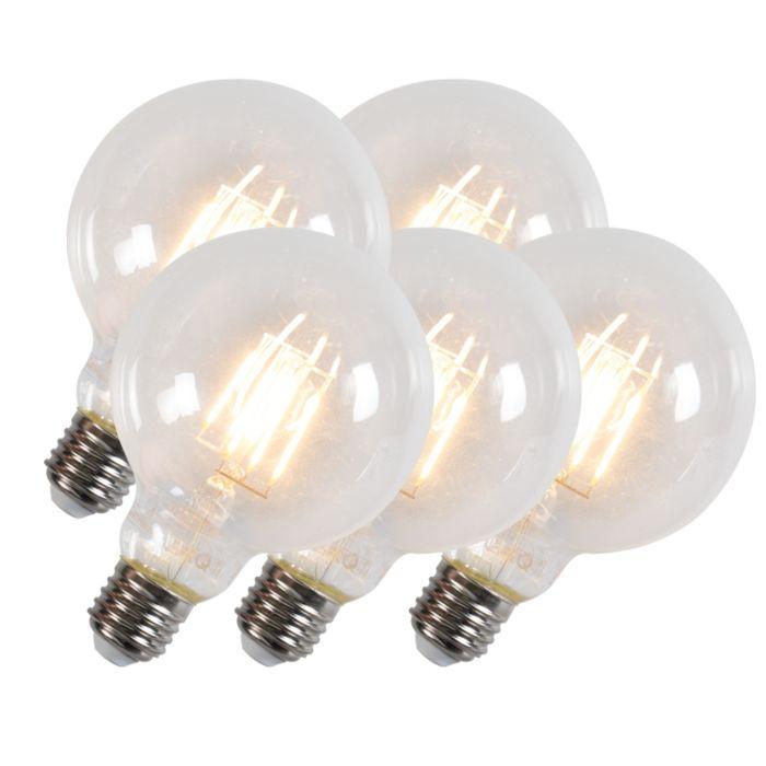 Sæt-med-5-LED-glødelamper-G95-E27-6W-600-lumen