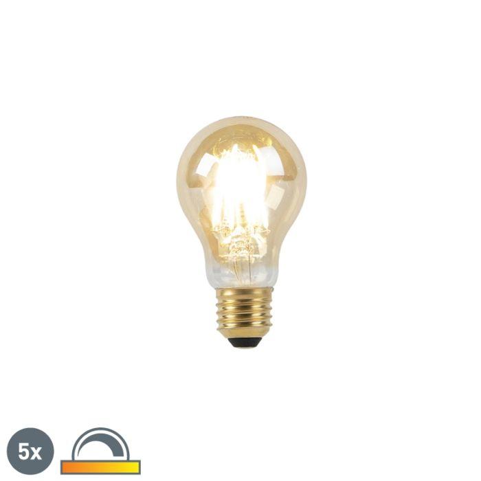 Sæt-med-5-E27-LED-lampe-8W-2000-2600K-dæmpet-til-varmt-guldlinjefilament