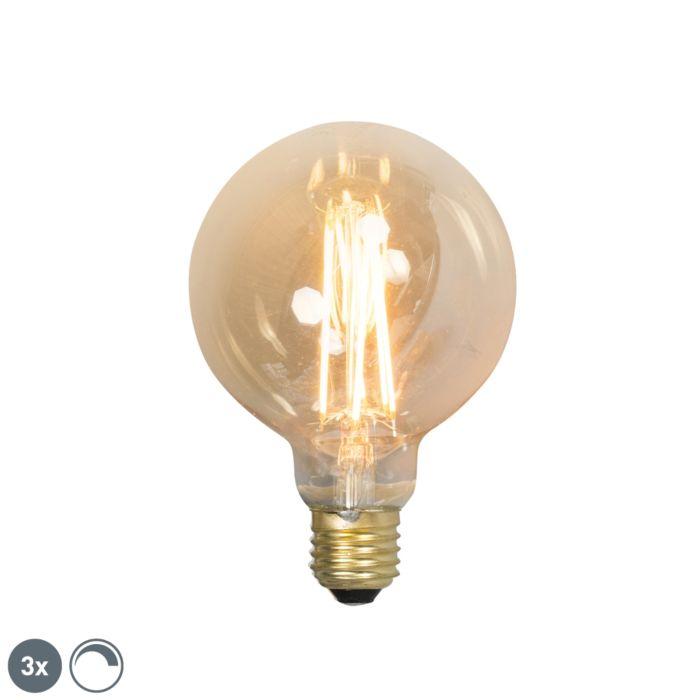 Sæt-med-3-E27-dæmpbare-LED-glødelamper-G95-goldline-2100K