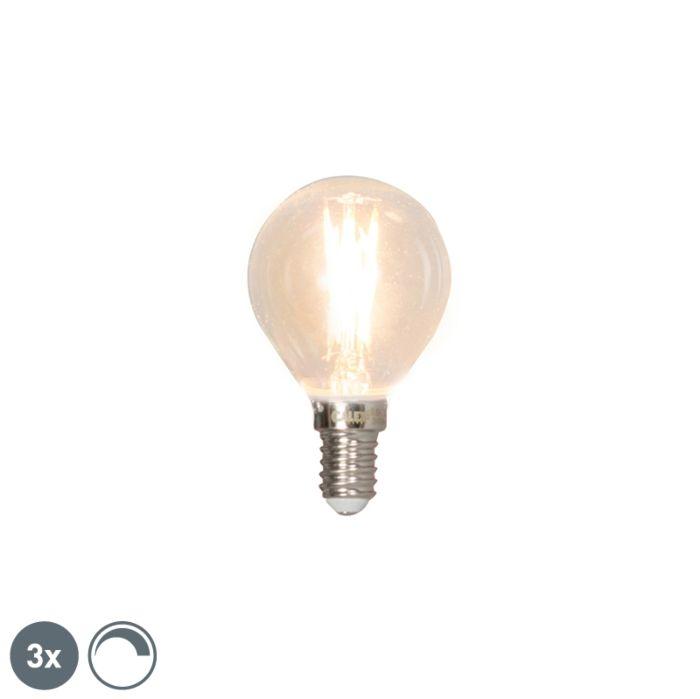 Sæt-med-3-E14-dæmpbare-LED-glødelampe-3W-350lm-2700K