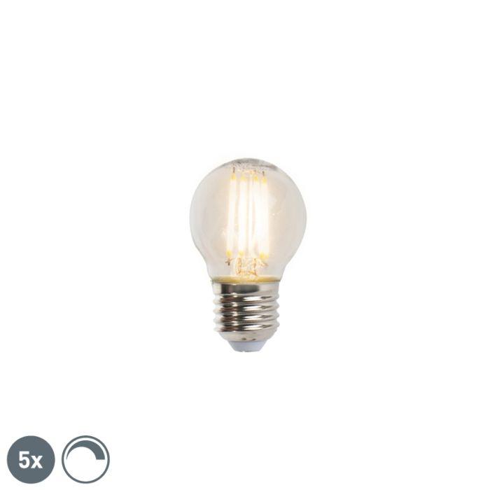 Sæt-med-5-E27-dæmpbare-LED-glødelampe-5W-470lm-2700K