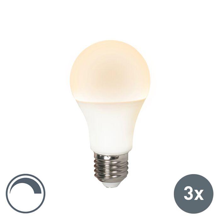Sæt-med-3-LED-lampe-E27-240V-10W-810lm-A60-dæmpbar