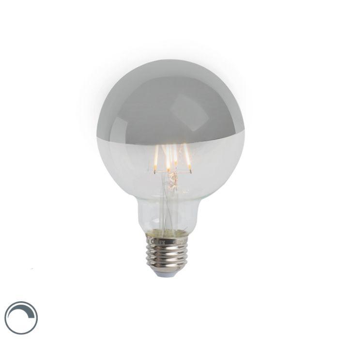 LED-glødelampe-hoved-spejl-sølv-E27-240V-4W-280lm-2300K-G95-dæmpbar