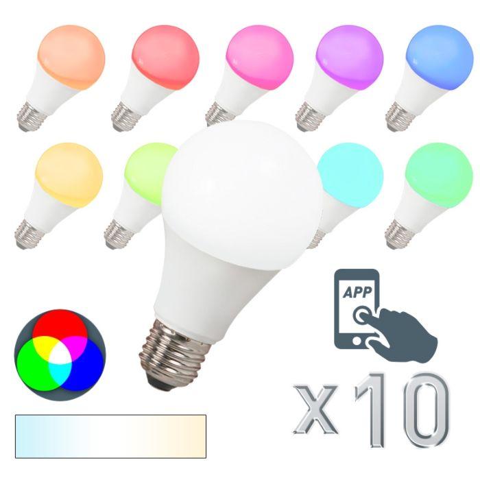 Sæt-med-10-LED-lampe-E27-240V-7W-500lm-A60-Smart-Light