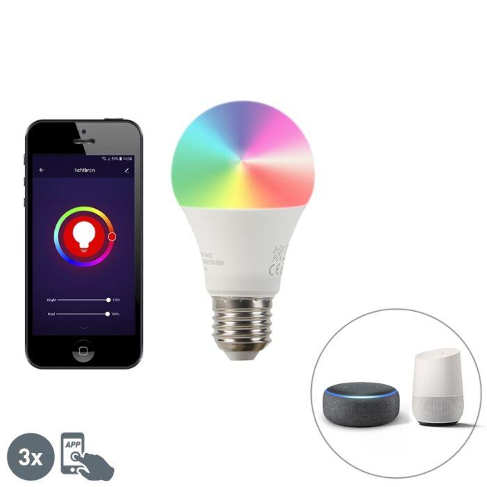 Smart-sæt-med-3-E27-dæmpbare-LED-pærer-A60-9W-800-lm-2200-4000K