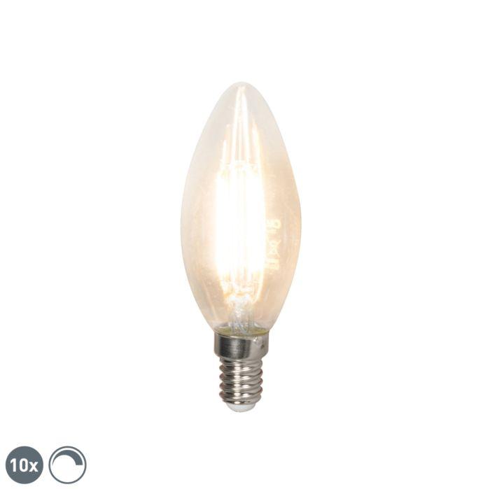 Sæt-med-10-LED-glødelampe-E14-240V-3,5W-350lm-B35-dæmpbar