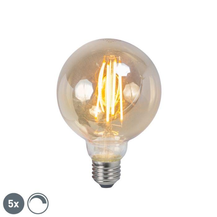 Sæt-med-5-E27-dæmpbar-LED-filamentrøglampe-5W-450lm-2200K