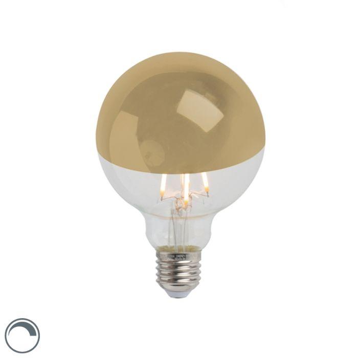 LED-glødelampe-hoved-spejl-guld-E27-240V-4W-280lm-2300K-G95-dæmpbar