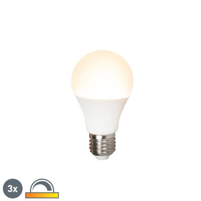 Sæt-med-3-LED-lampe-E27-240V-7W-510lm-A60-dæmpbar