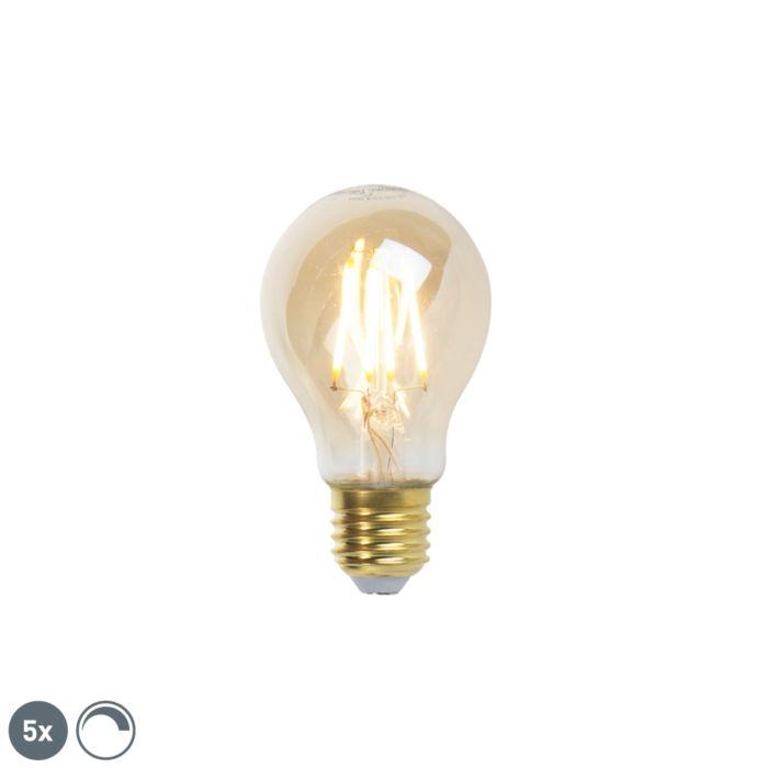 Sæt-med-5-E27-dæmpbare-LED-glødelamper-goldline-360lm-2200K