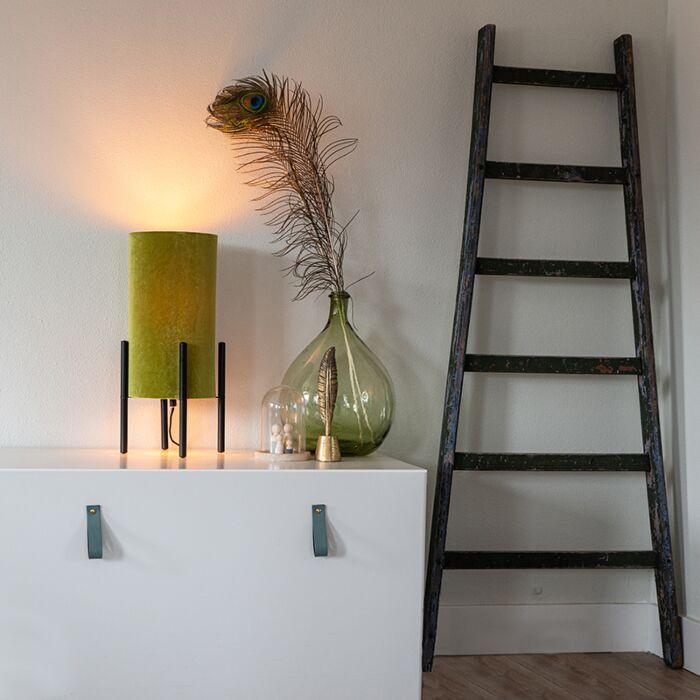 Design-bordlampe-sort-fløjl-nuance-grøn-med-guld---Rich