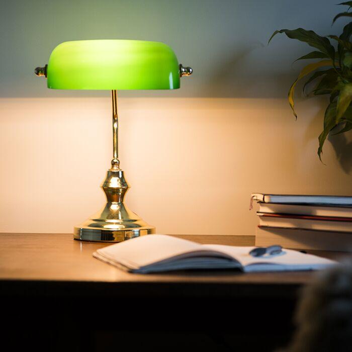 Klassisk-bordlampe-/-notatlampe-messing-med-grønt-glas---Banker