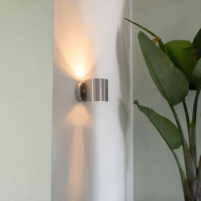 Moderne-væglampe-aluminium-rund---Effekt
