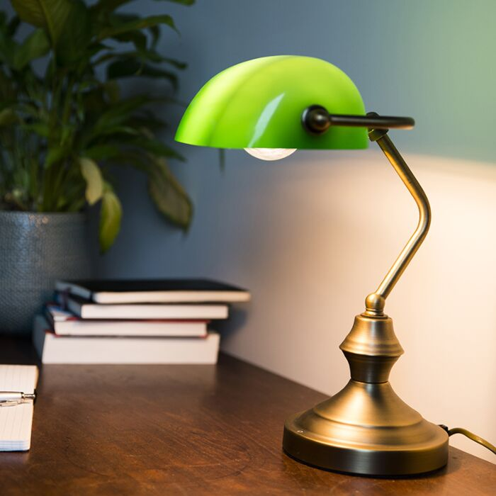 Klassisk-bordlampe-/-notarlampe-bronze-med-grønt-glas---Banker