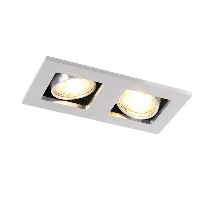Rektangulært-forsænket-spotlight-2-lys-aluminium---Qure