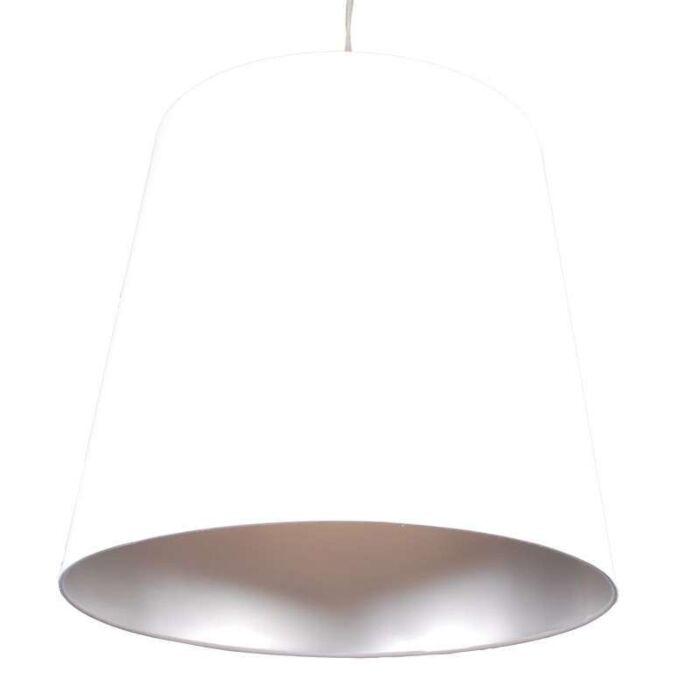 Hængelampe-Skærm-hvid-sølv