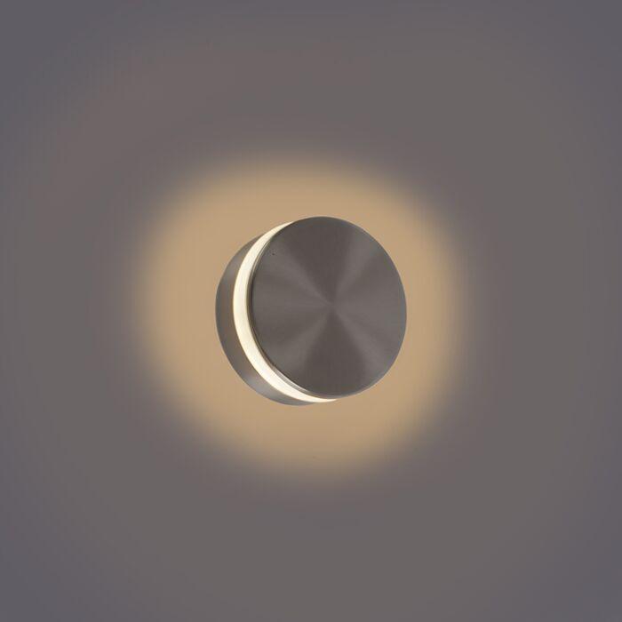 Moderne-væglampe-stål-inkl.-LED-IP44---Theo-Round