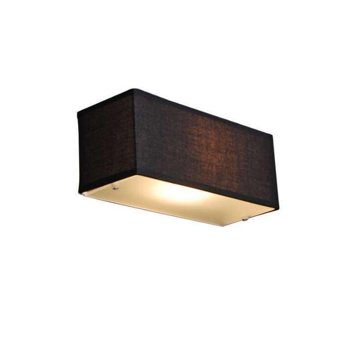 Væglampe-Tromle-rektangel-sort