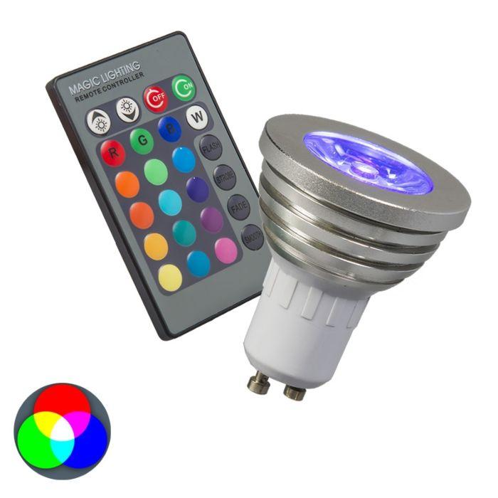 RGB-GU10-lampe-med-fjernbetjening