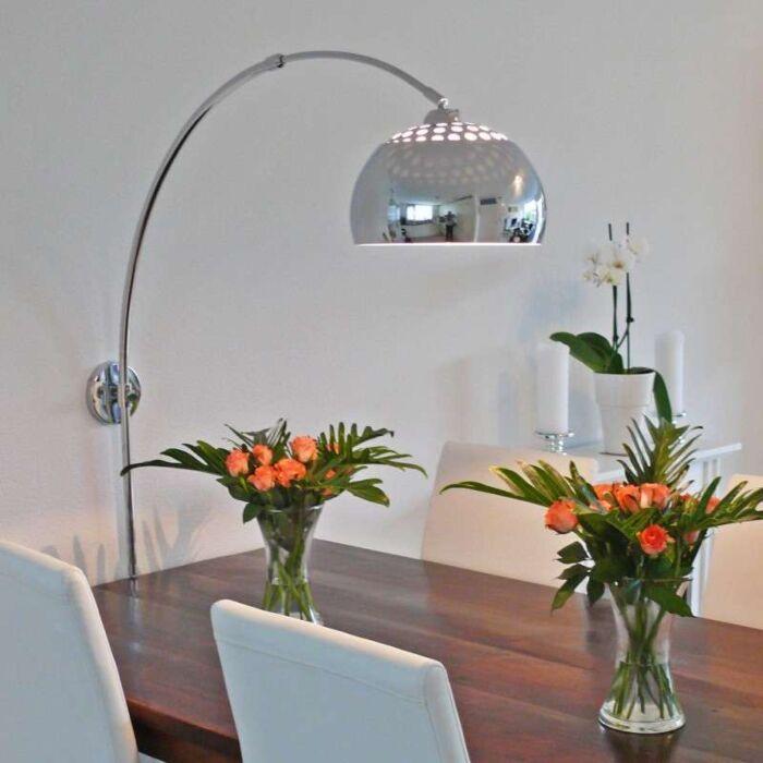 Bue-lampe-væg-krom