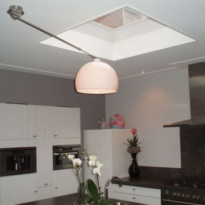 Hængelampe-Decentra-stål-hvid