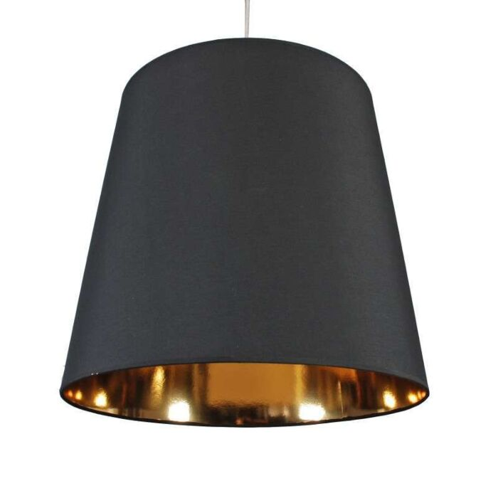 Hængelampe-Skærm-sort-guld